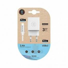 CARGADOR DOBLE + CABLE MICRO USB TECH ONE TECH